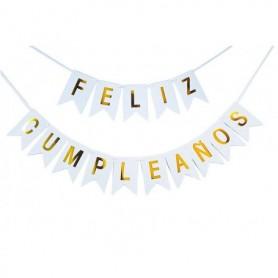 Letrero Feliz Cumpleaños Blanco - Dorado