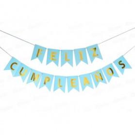 Letrero Feliz Cumpleaños Azul - Dorado