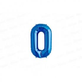 Globo Metalizado Mediano Azul Número 0