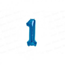 Globo Metalizado Mediano Azul Número 1