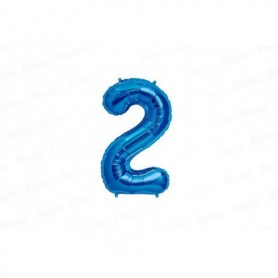 Globo Metalizado Mediano Azul Número 2
