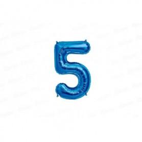 Globo Metalizado Mediano Azul Número 5