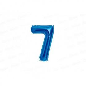 Globo Metalizado Mediano Azul Número 7