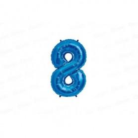 Globo Metalizado Mediano Azul Número 8