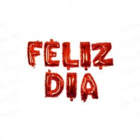 Globo Letrero Metalizado Feliz Dia Rojo