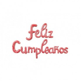 Globo Letrero Metalizado Feliz Cumpleaños Cursivo Palo de Rosa