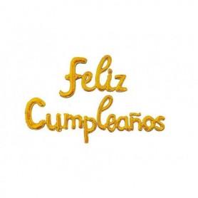 Globo Letrero Metalizado Feliz Cumpleaños Cursivo Dorado
