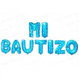 Globo Letrero Metalizado Mi Bautizo Niño