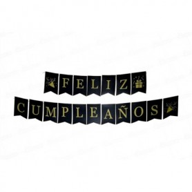 Letrero Feliz Cumpleaños Negro  - Dorado Dfiestas