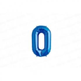 Globo Metalizado Pequeño Azul Número 0