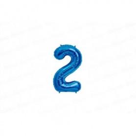 Globo Metalizado Pequeño Azul Número 2
