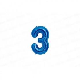 Globo Metalizado Pequeño Azul  Número 3