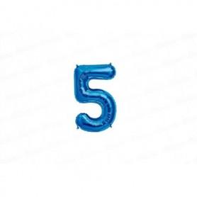 Globo Metalizado Pequeño Azul Número 5