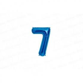Globo Metalizado Pequeño Azul Número 7