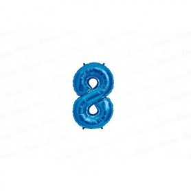 Globo Metalizado Pequeño Azul  Número 8