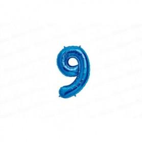 Globo Metalizado Pequeño Azul Número 9