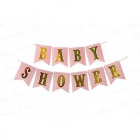 Letrero Baby Shower Rosa - Dorado