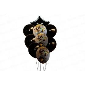 Globo Ramillete Negro confetti dorado x9