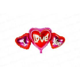 Globo Metalizado Corazón I Love You 3 en uno