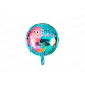 Globo Redondo Sirena Happy Birthday