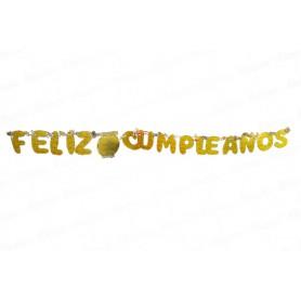 Letrero Feliz Cumpleaños Dorado CyM