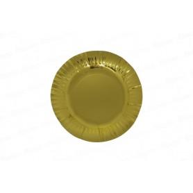 Plato redondo Dorado Metalizado x12
