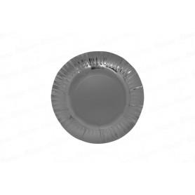 Plato redondo Plateado Metalizado x12