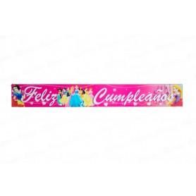 Letrero Feliz Cumpleaños Princesas Paquete x2