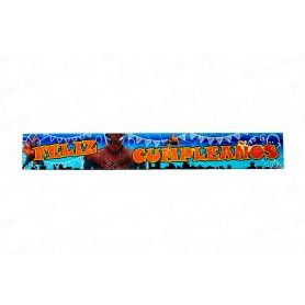 Letrero Feliz Cumpleaños Spiderman Paquete x2