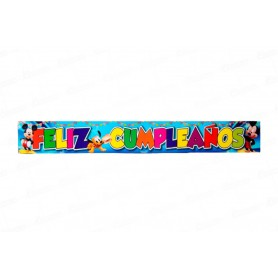 Letrero Feliz Cumpleaños Mickey Paquete x2