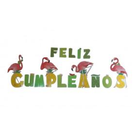 Letrero Feliz Cumpleaños Flamenco