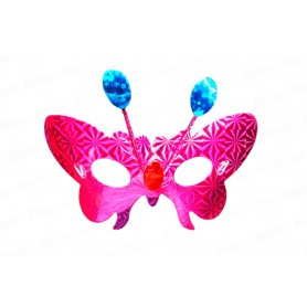 Antifaz Holográfico Mariposa con Antenas Paquete x6