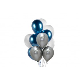Globo Ramillete Cromada Azul - Plateado - Blanco