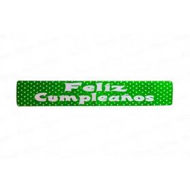 Letrero Polka Verde Feliz Cumpleaños