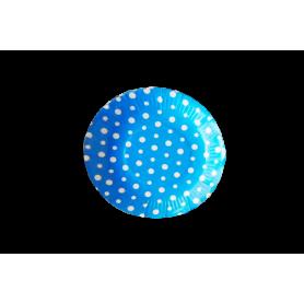 Plato Polka Azul Paquete x12 Dfiestas