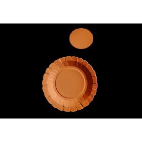 Plato y Portavaso Naranja Neón Paquete x12