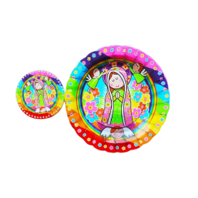 Plato y portavaso Vírgen de Guadalupe Paquete x12 CyM