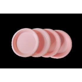 Plato Plástico Rosado Paquete x10