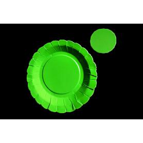 Plato y Portavaso Verde Neón Paquete x12