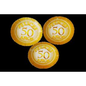 Plato Felices 50 Años Paquete x12