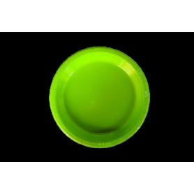 Plato Plástico Verde Neón Paquete x10
