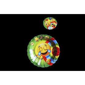 Plato y Portavaso Emoticones Paquete x12