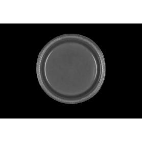 Plato Plástico Plateado Paquete x10