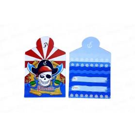 Tarjeta de Invitación Pirata Paquete x12
