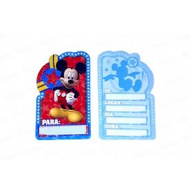 Tarjeta de Invitación Mickey Paquete x8