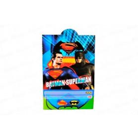 Tarjeta de Invitación Batman y Superman Paquete x12