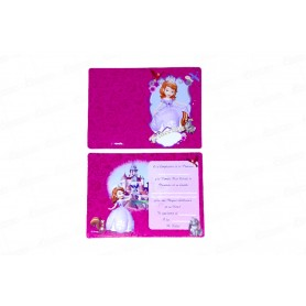 Tarjeta de invitación Princesa Sofía Paquete x8