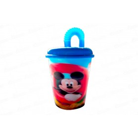 Vaso Pitillo Holográfico Mickey Mouse