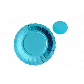 Plato y Portavaso Azul Celeste Paquete x12