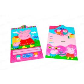 Tarjeta de Invitación Peppa Pig Paquete x12